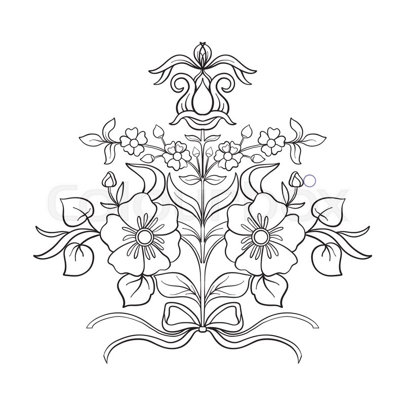 Vintage Flowers Part - 41: Stock Vector Of U0027Outline Vintage Flowers Bouquet Or Pattern In Rococo,  Victorian, Renaissance