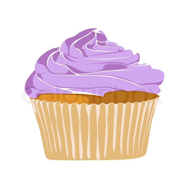 Vector Yummy Cupcake On White Background Stock Vector