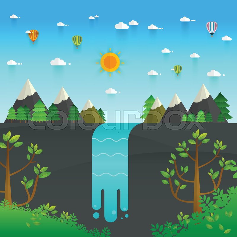 Landscape illustration. Mountain river, waterfall, mountains, hills, and clouds. Flat design vector, vector