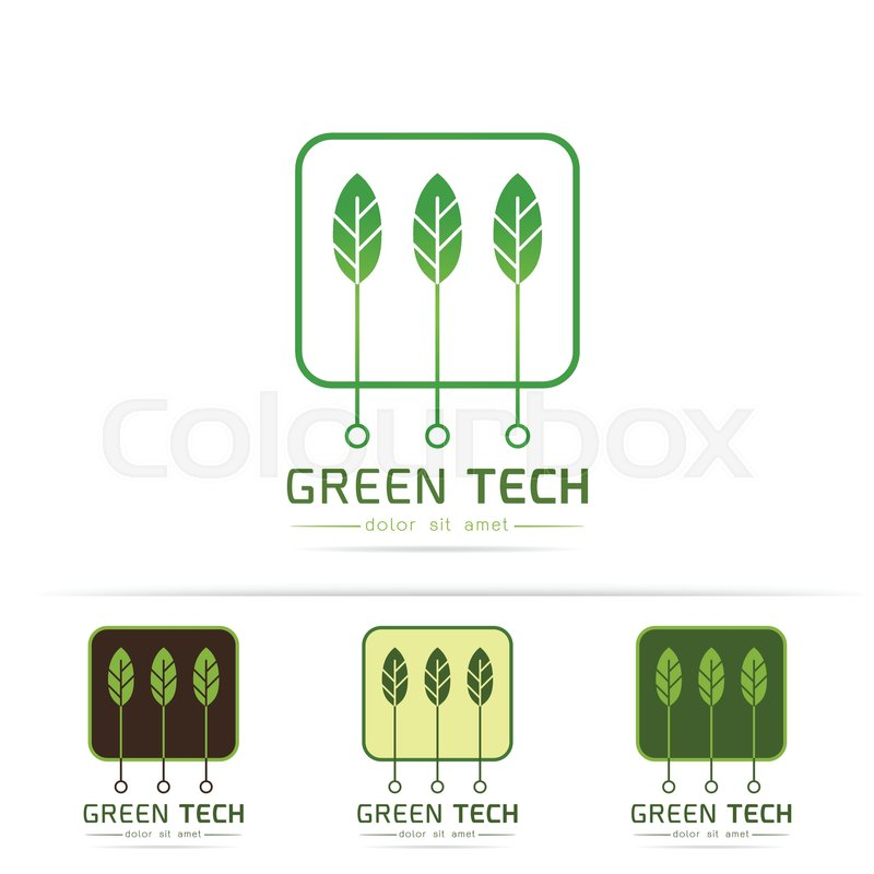 Creative Symbol Concept With Circuit Board Green Leaf Modern