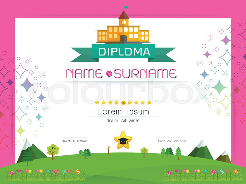 Certificate kids diploma, kindergarten template layout ...