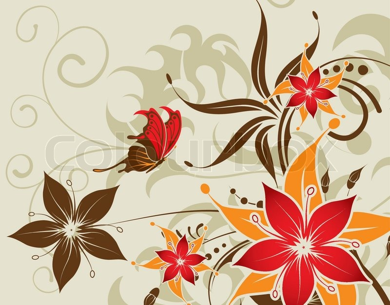 Flower Background With Butterfly Element For Design Vector