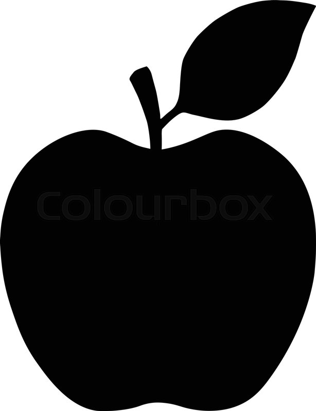 apple symbol black silhouette isolated on white vector