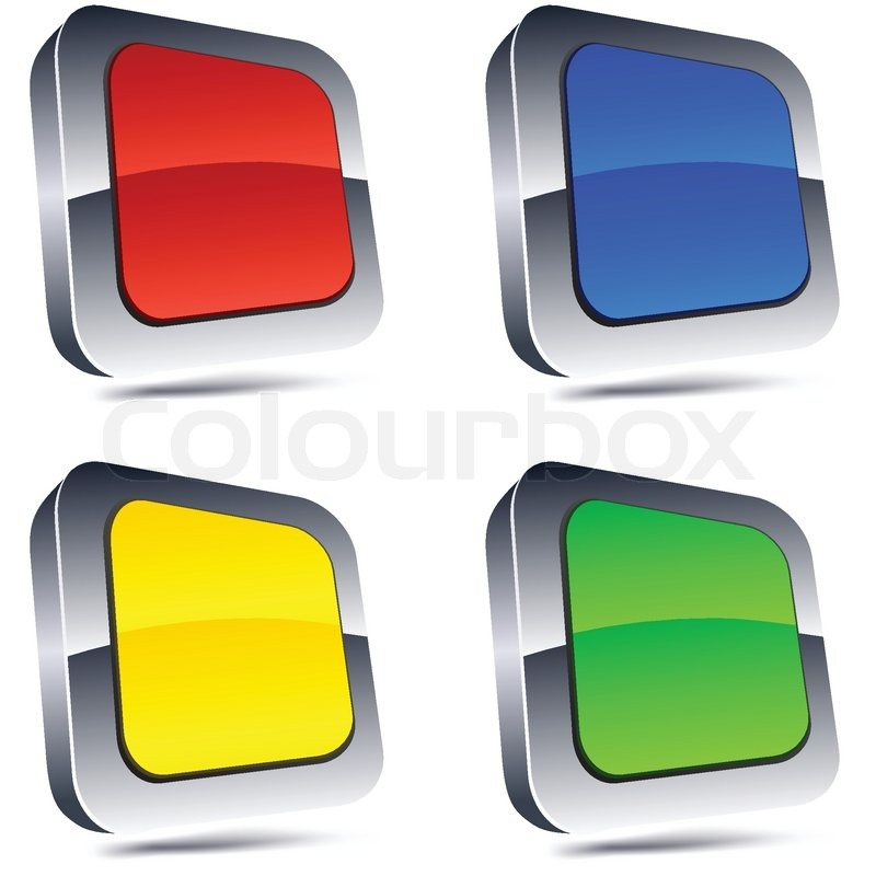 Blank 3d square buttons | Stock vector | Colourbox