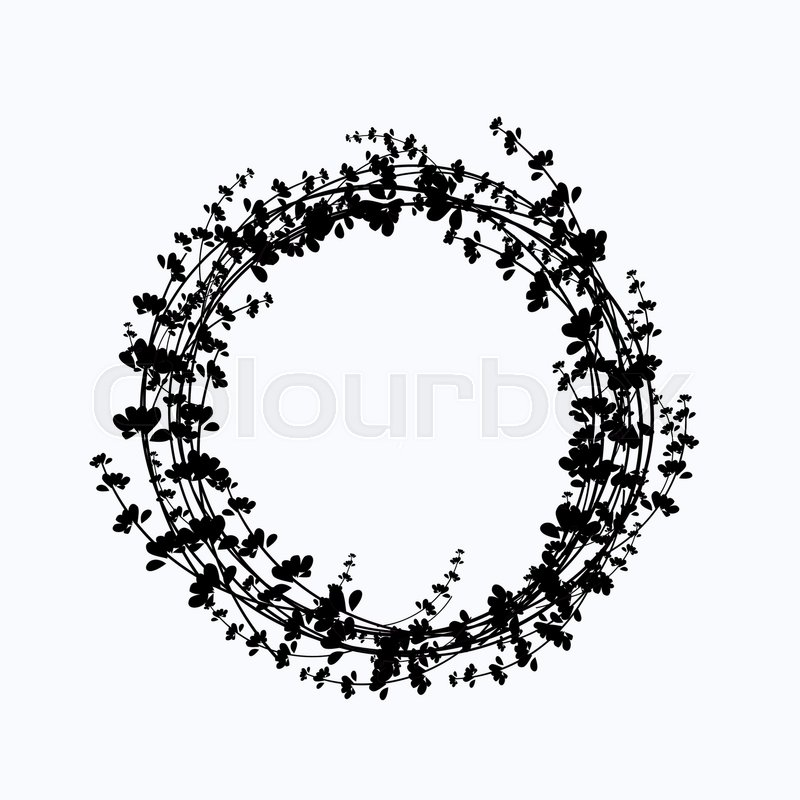 Vector circle frame made of flowers. Spring and summer collection ...