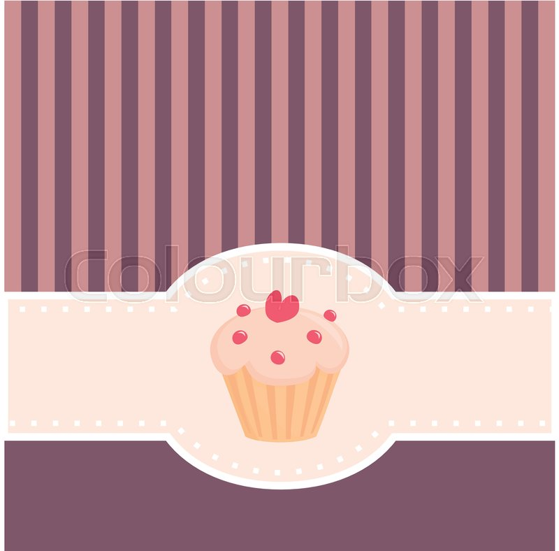 Card or vector invitation with sweet muffin cupcake heart and pink card or vector invitation with sweet muffin cupcake heart and pink violet strips vintage template with candy symbol vector stopboris Image collections