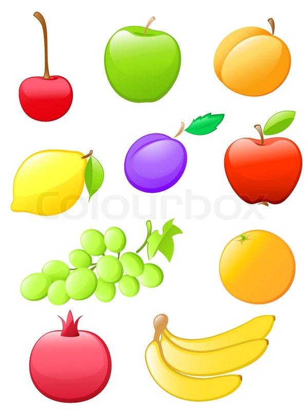 Reihe von farbigen Hochglanz- Obst Symbole | Vektorgrafik | Colourbox
