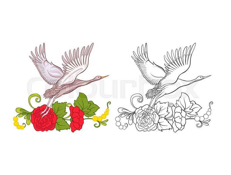 Set Of Colored Sample And Outline Drawing Hand Coloring Page For Adult Book Stock Line Vector Illustration