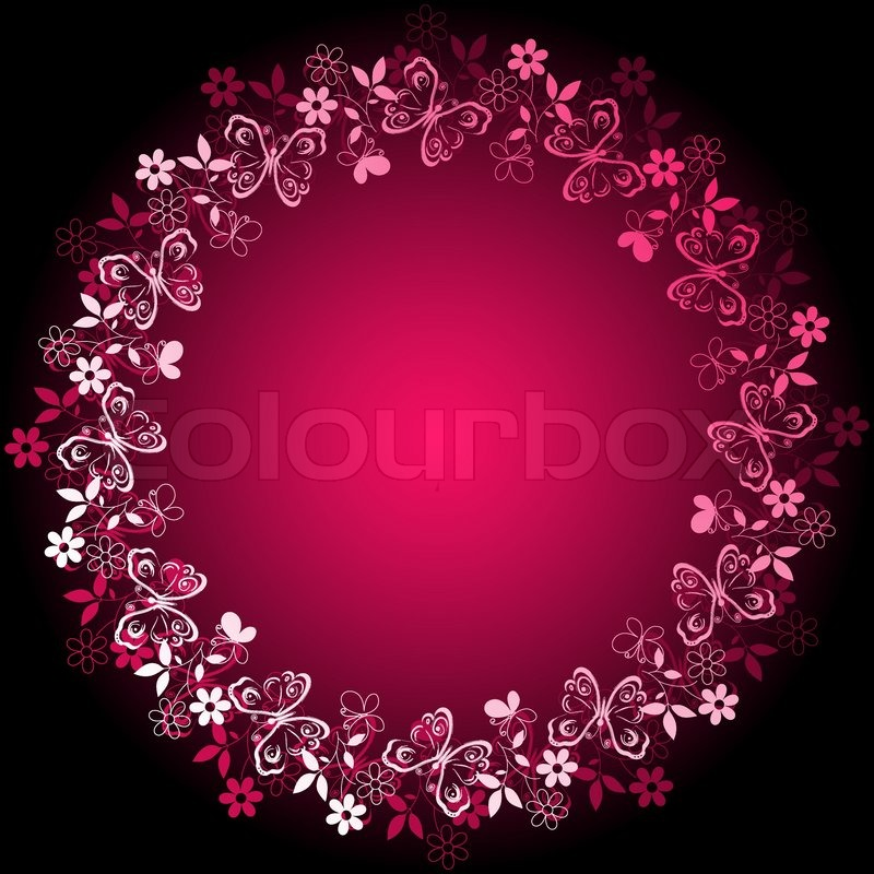 stock vector of white purple vivid floral frame on pink and black background