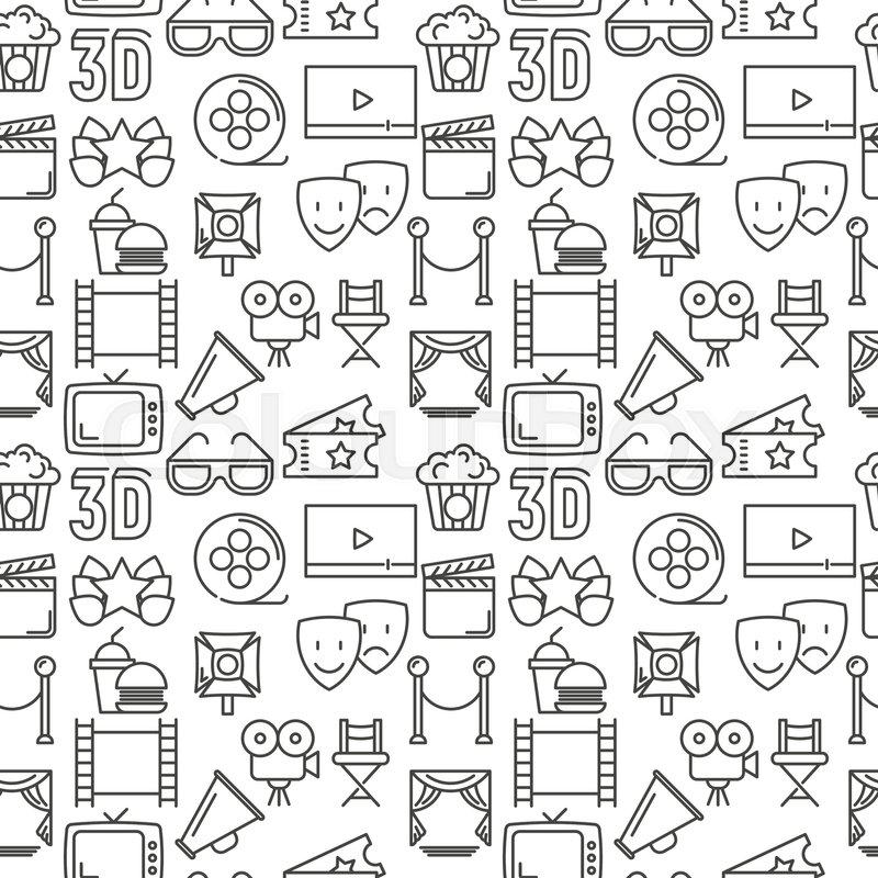 Cartoon Cinema Seamless Pattern With Stock Vector Colourbox