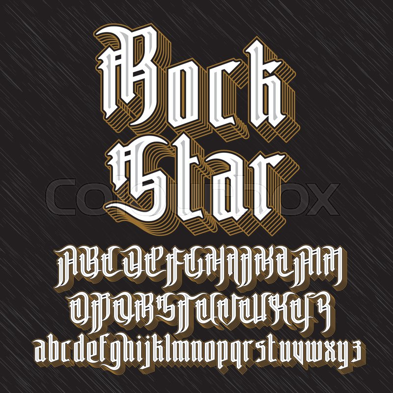Rock Star Modern Gothic Style Font Letters With Decoration Elements Vector Alphabet