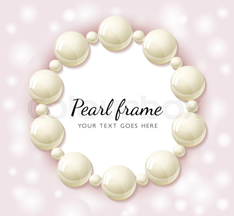 pearl beads round frame on pink bokeh background wedding invitation