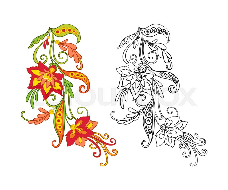 Set Of Outline And Colored Vintage Flowers Bouquet Or Pattern Coloring Page For Adult Book Vector Illustration