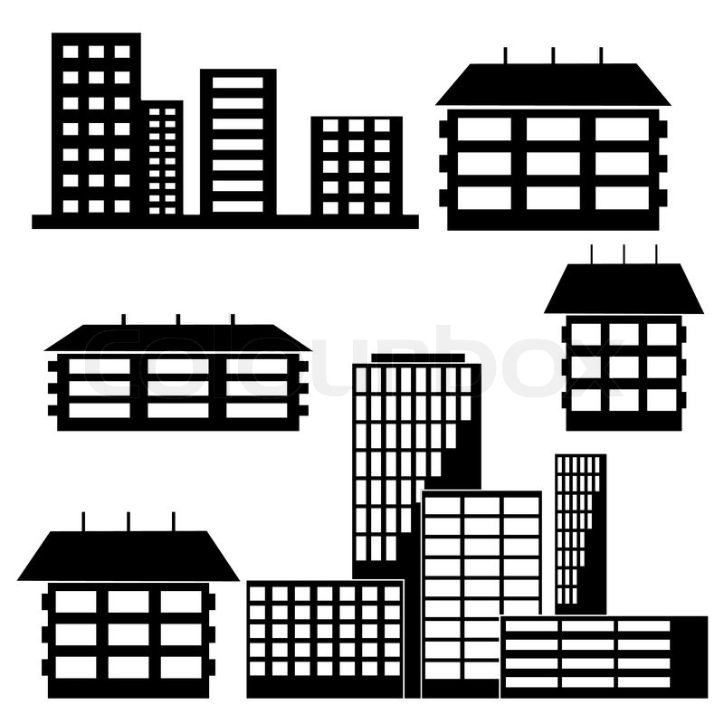 Different Kind Of Houses And Buildings Vector Illustration Stock Vector Colourbox