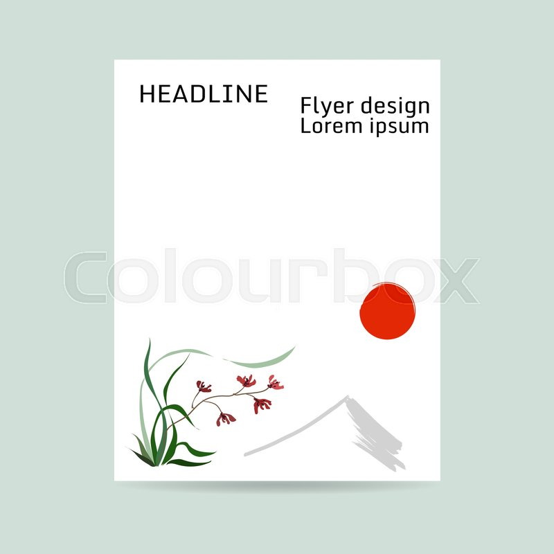 Flyer design letter format wild orchid red flowers background of letter format wild orchid red flowers background of mountain and red sun japanese painting style sumi e traditional chinese painting gohua spiritdancerdesigns Images