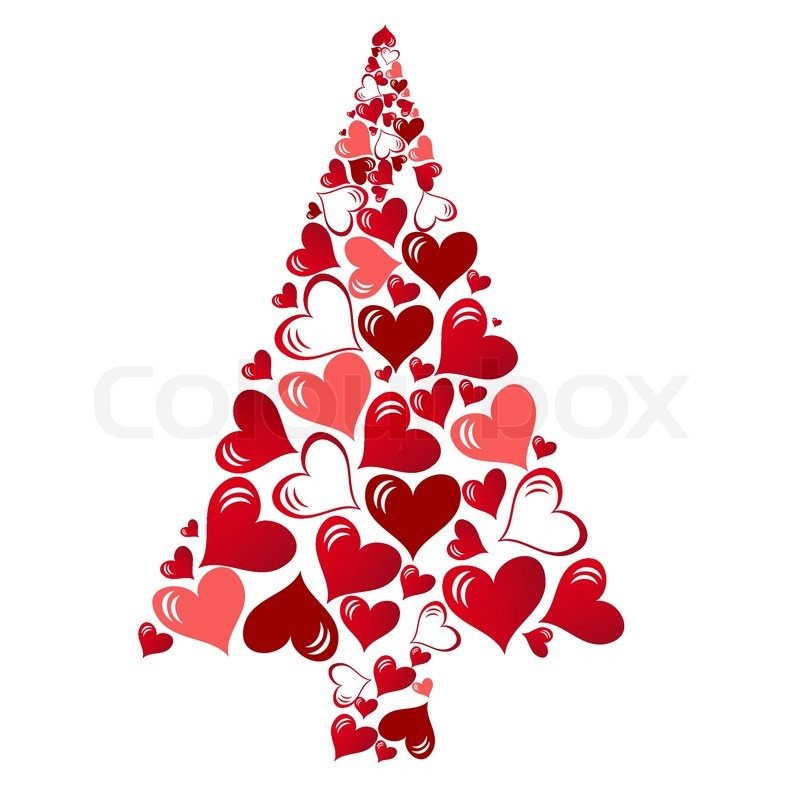 Abstract vector christmas tree with lovely hearts | Stock ...