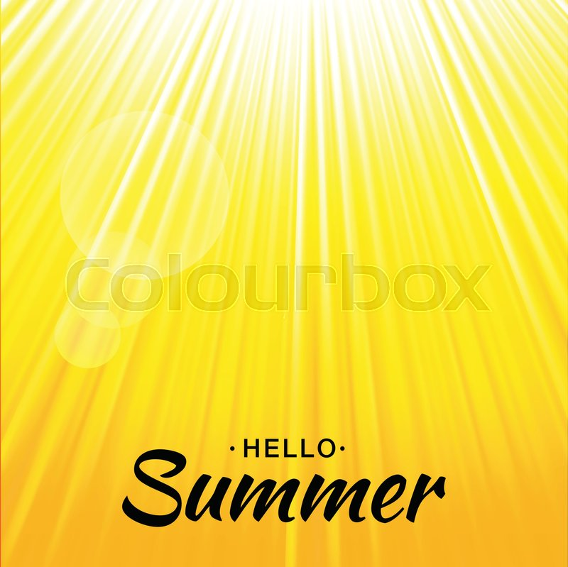 Summer template vector yellow glow background with sun rays and ...