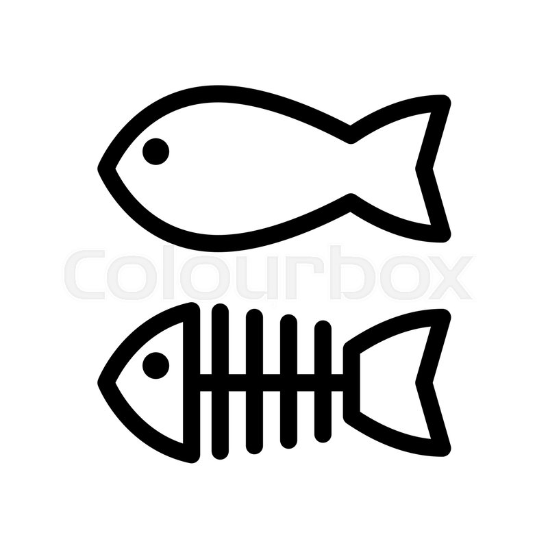 fish and skeleton simple vector icon black and white illustration rh colourbox com  fish skeleton logo meaning