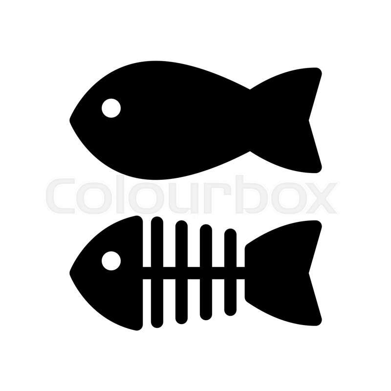 fish and skeleton simple vector icon black and white illustration rh colourbox com fish skeleton logo meaning t shirt with fish skeleton logo
