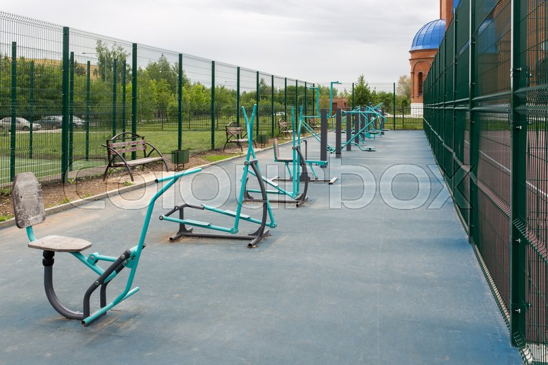 Views of the sports ground for street workout. Public area for sports training in the park, stock photo