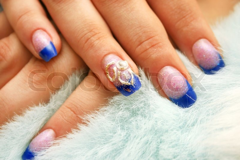 Woman Hands With Nail Art On Fur Background Stock Photo Colourbox