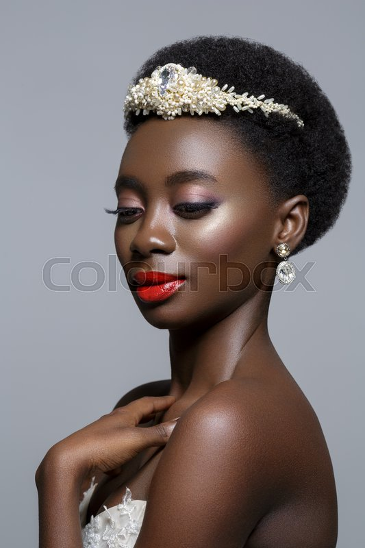 Beautiful Black Skin Young Woman With Red Lips In White
