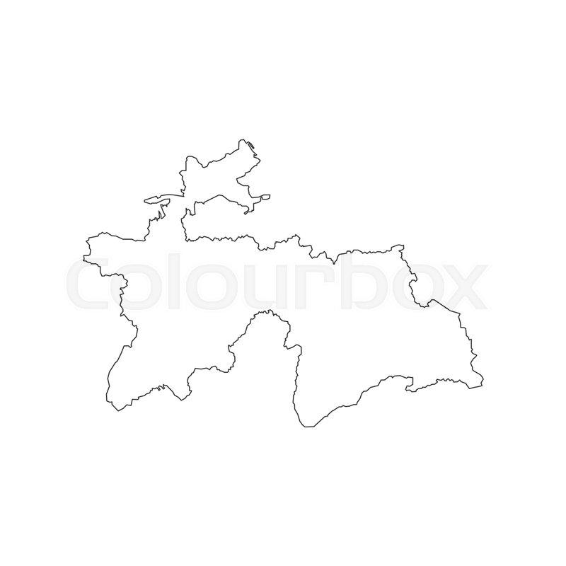 Tajikistan Map Silhouette On The White Background Vector - Tajikistan map vector