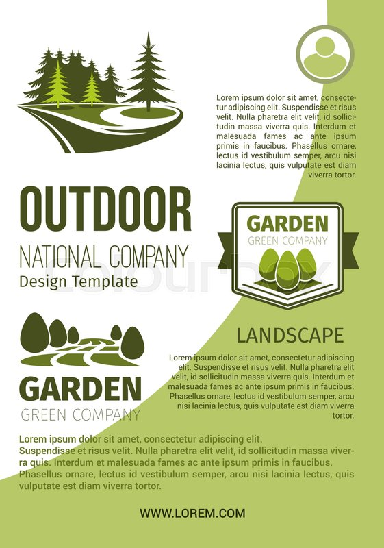 outdoor green landscape and garden designing company and horticulture organization poster design template vector park or forest trees and woodlands