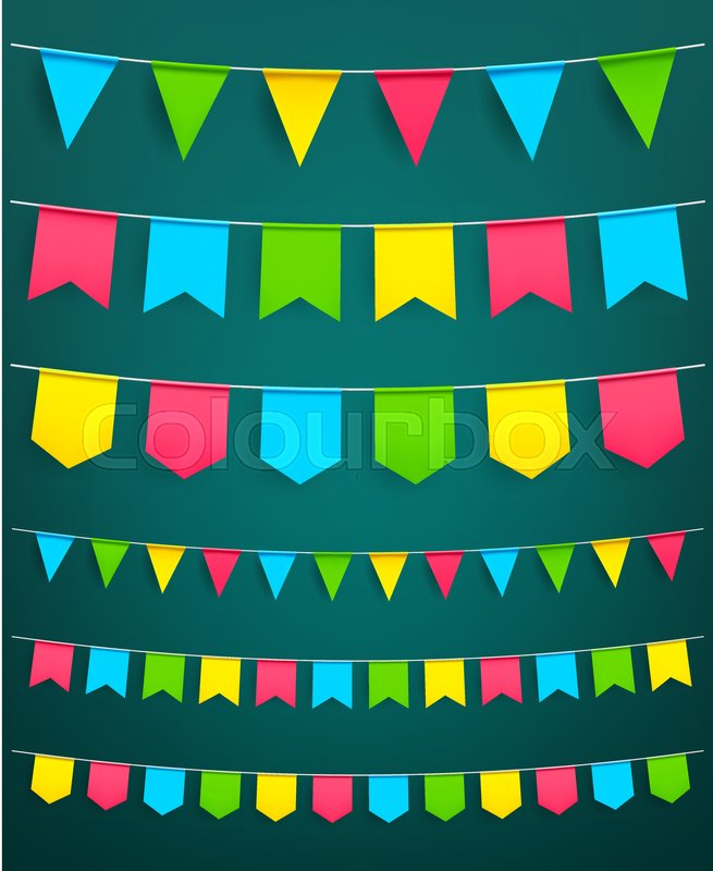 Flag garland set vector isolated symbols of bunting paper flags on of bunting paper flags on thread for carnival or festival celebration new year or christmas party and happy birthday decoration design template vector maxwellsz