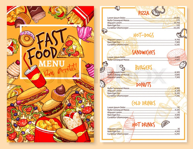 Fast food menu template of snacks and meals. Vector price design of ...