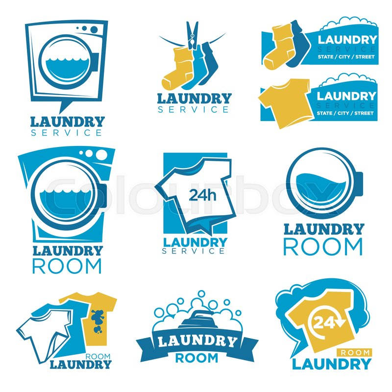 Laundry Service Room Logo Templates Set Vector Isolated Symbols Of Washing Machine Detergent Or Soap Bubbles And Water Splash Fresh T Shirts Dirt