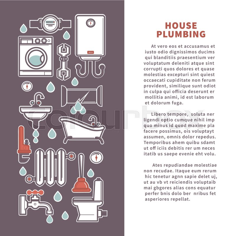 House plumbing for kitchen or bathroom vector poster or house plumbing for kitchen or bathroom vector poster or infographics template of household appliances bathtub or sink and toilet water heater or sewage ccuart Image collections