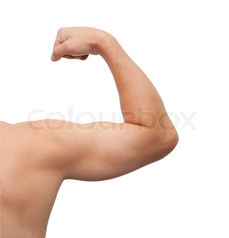 The male arm isolated on white...
