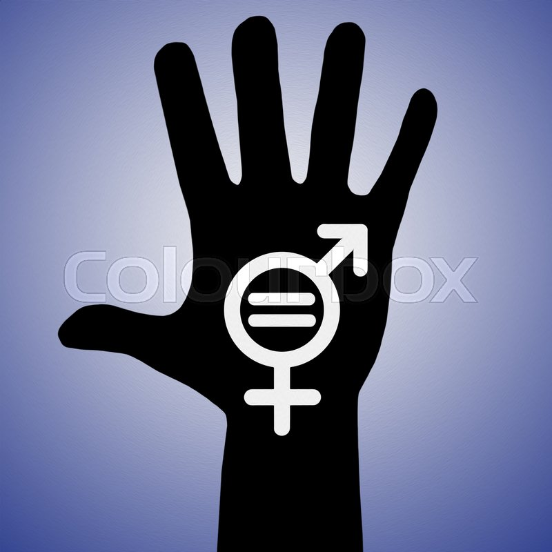 One Hand With Male And Female Symbol Gender Equality Human Rights