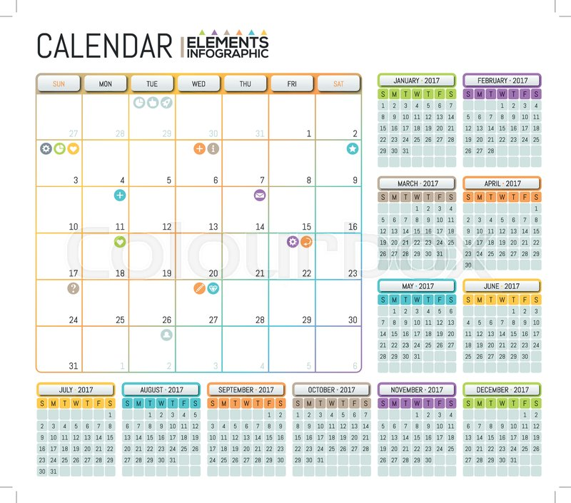 Modern Calendar  Template Design With Place For Notes Daily And