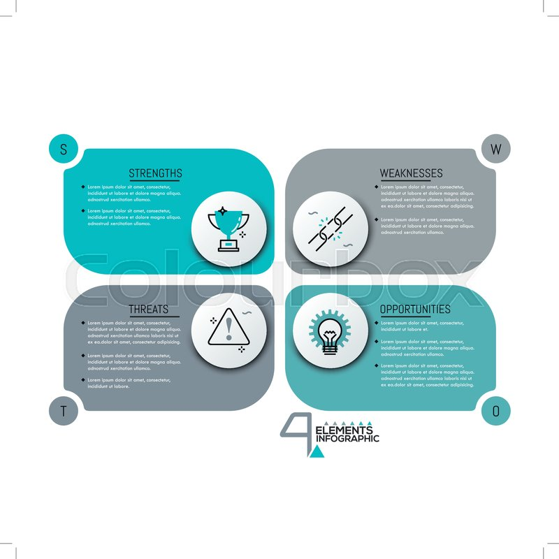 creative infographic design template 4 rectangle text boxes with