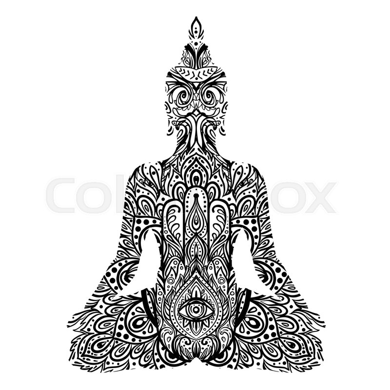 22ce5177def29 Stock vector of 'Sitting Buddha silhouette. Vintage decorative vector illustration  isolated on white.