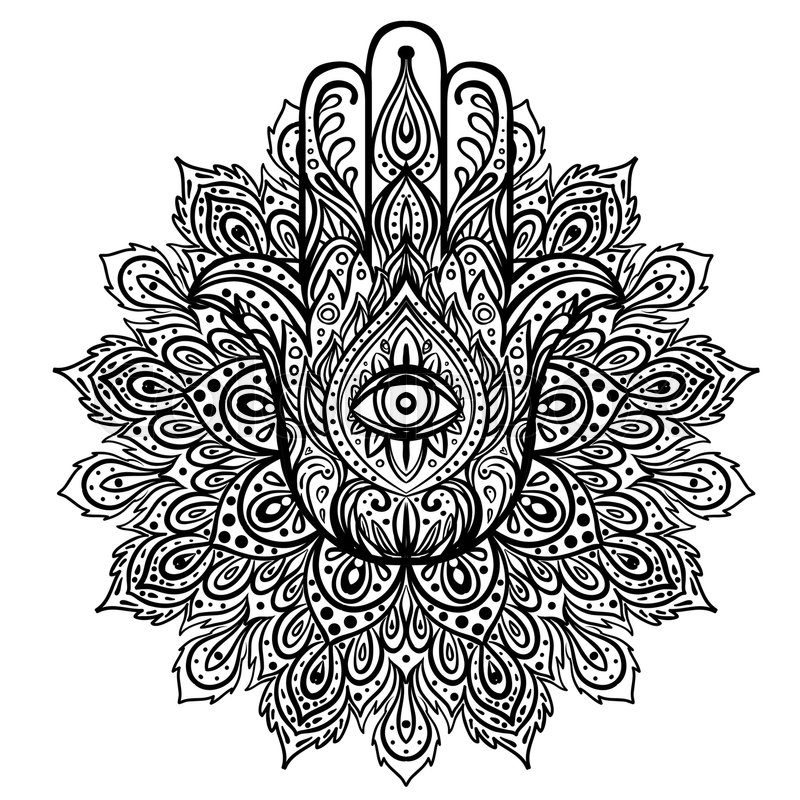 Vector Indian Hand Drawn Hamsa Over Round Mandala Pattern Ethnic Ornaments Popular Arabic And Jewish Amulet Illustration Coloring Book