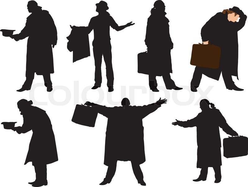A collection of silhouettes of men in a cloak with a ...