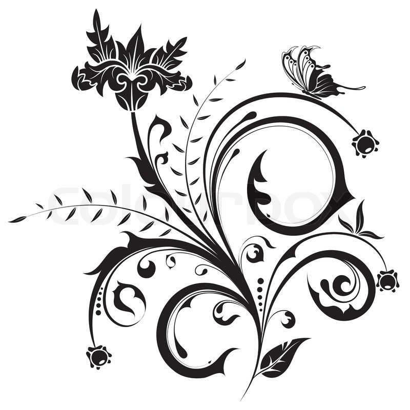Flower with butterfly, element for design, vector
