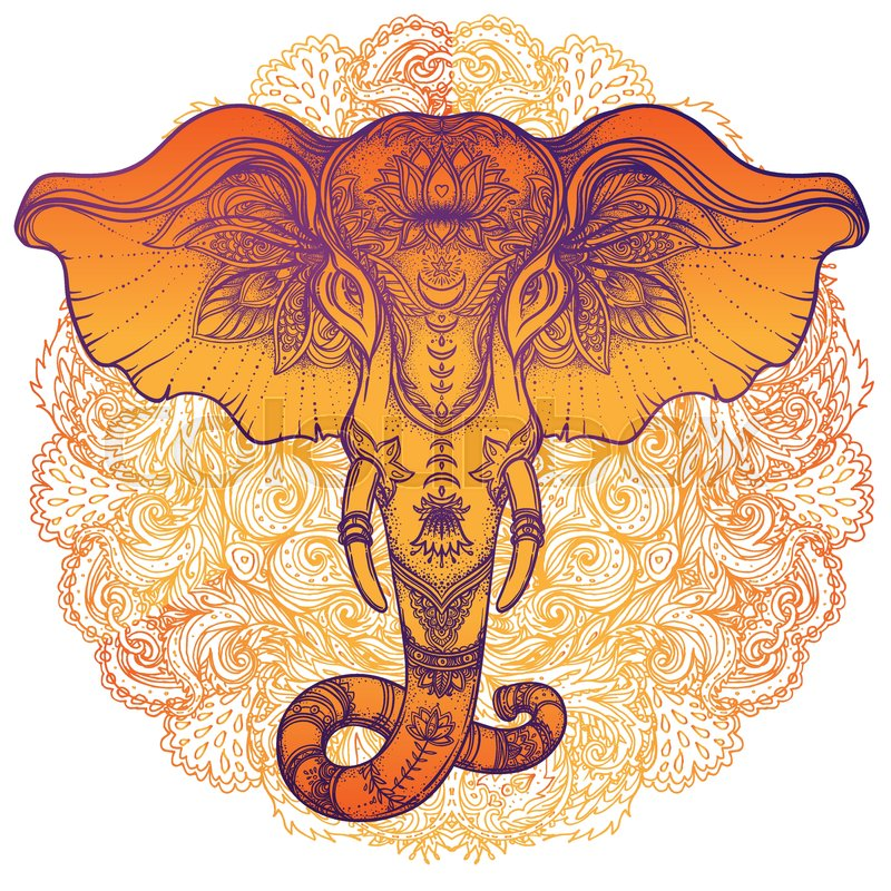 Beautiful Hand Drawn Tribal Style Elephant Over Mandala Colorful