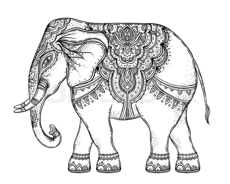 Beautiful Hand Drawn Tribal Style Elephant Over Mandala Colorful
