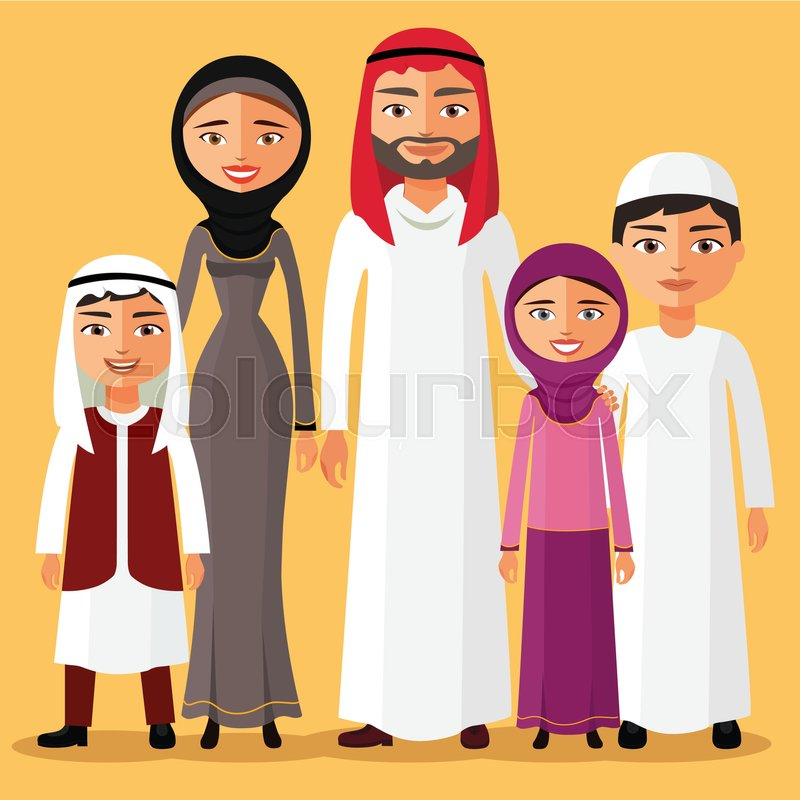 happy muslim arabic family members isolated on background
