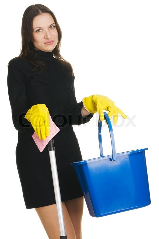 Stock image of 'Sexy housewife in elegant dress holding a swab and bucket, white background'