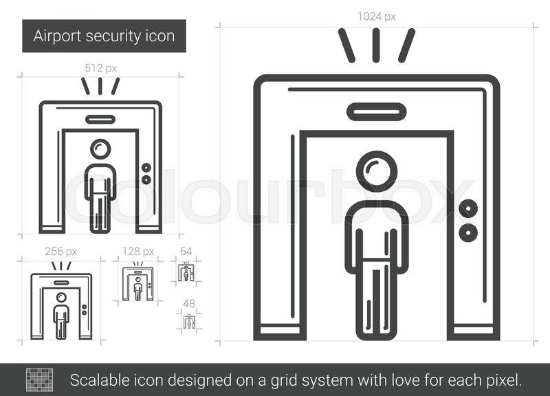 Airport Security Vector Line Icon Stock Vector Colourbox