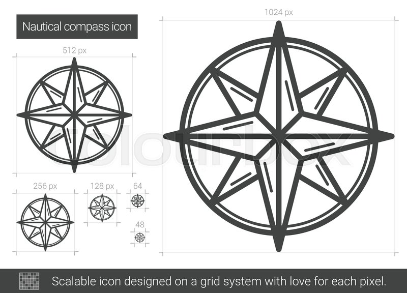 Nautical Compass Vector Line Icon Isolated On White Background For Infographic Website Or App Scalable Designed A Grid