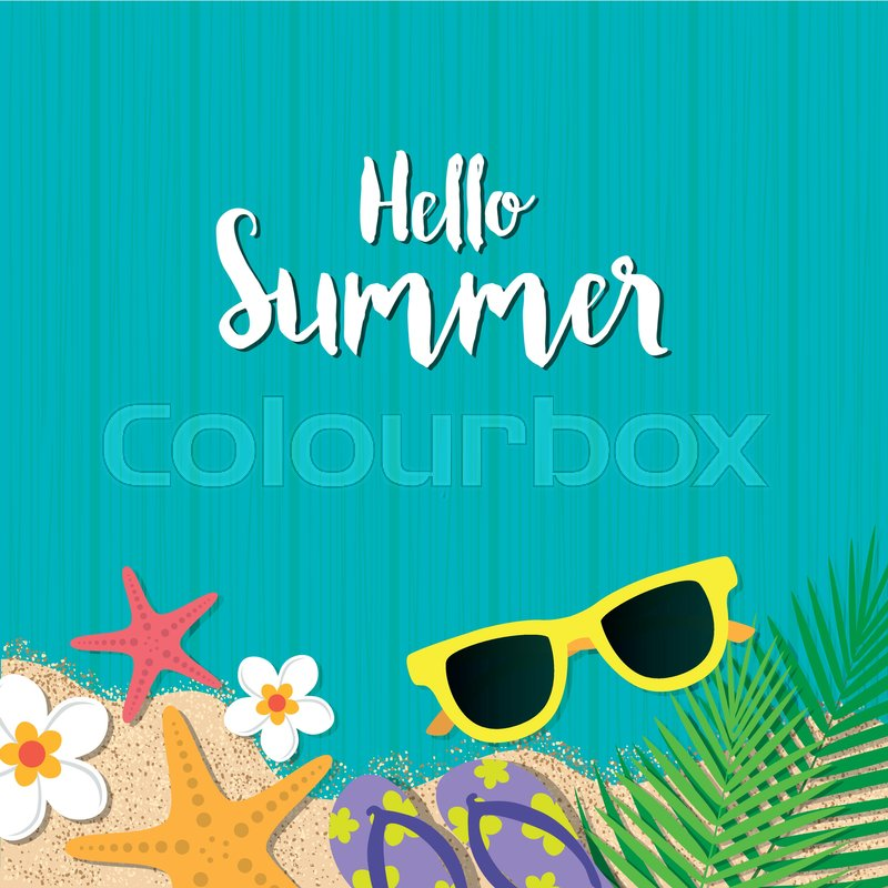Hello Summer Holiday Background. Top View With Sunglasses, Starfish, Flip  Flop, Flower And Leaf On Blue Wooden Background. Season Vacation, Weekend.