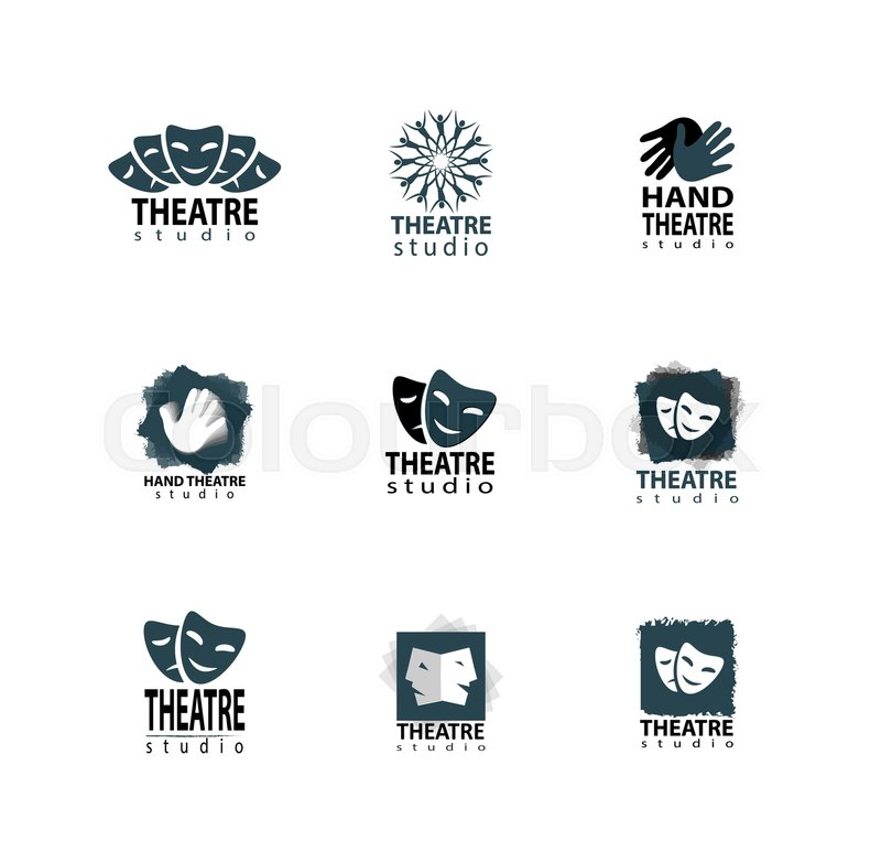 set of theatre studio logo design with hand and mask