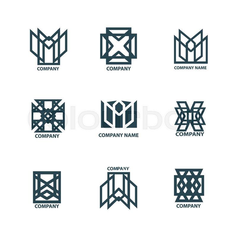 set design geometric logos for company stock vector