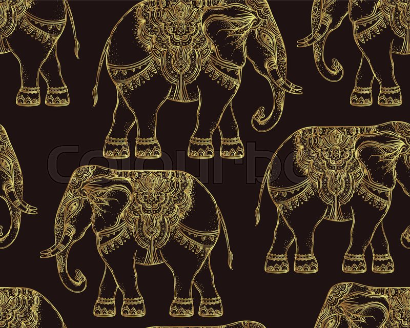 Beautiful Hand Drawn Tribal Style Elephant Seamless Pattern Design